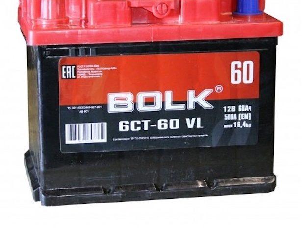 Аккумулятор автомобильный BOLK 60  242/175/190 пп 60Ач 500А