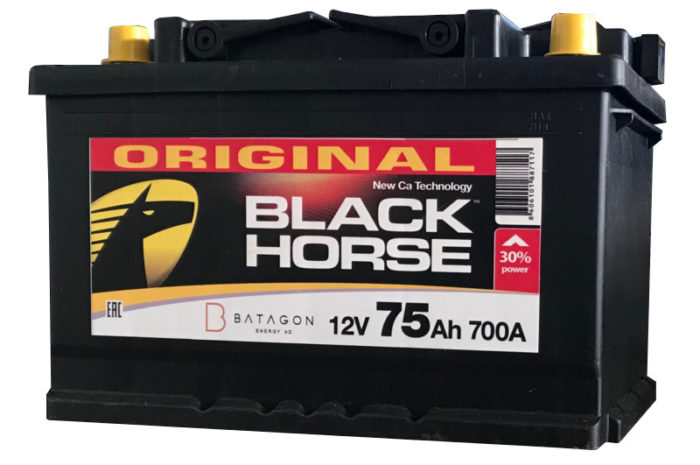Аккумуляторная батарея Black Horse 75Ач 700 А ОП E11 СЕРБИЯ